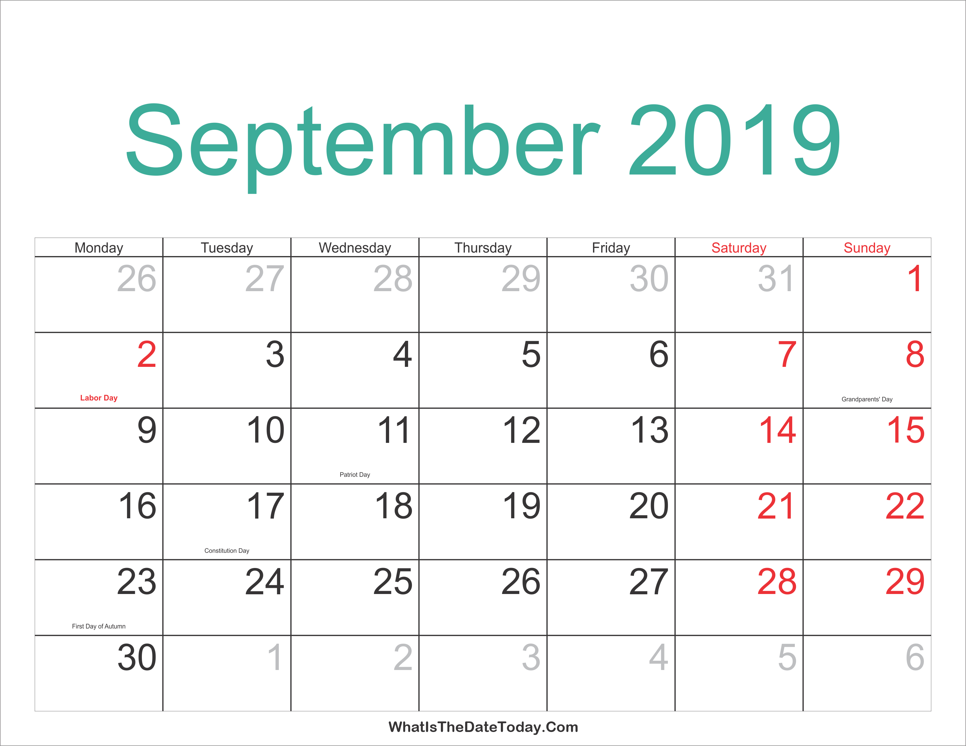 September 2019 Calendar With Holidays – Calendar Printable Week