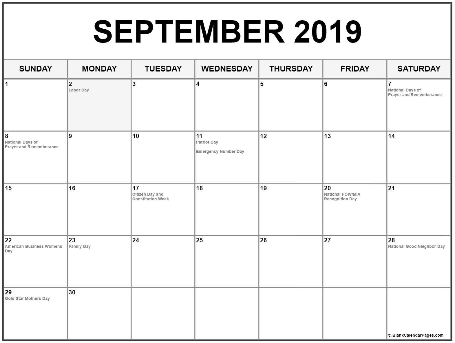 September 2019 Calendar Word #sep #september2019