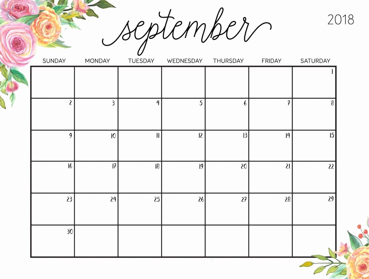 September 2019 Floral Calendar #september #september2019