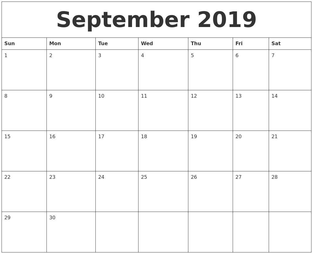 September 2019 Free Blank Calendar Template