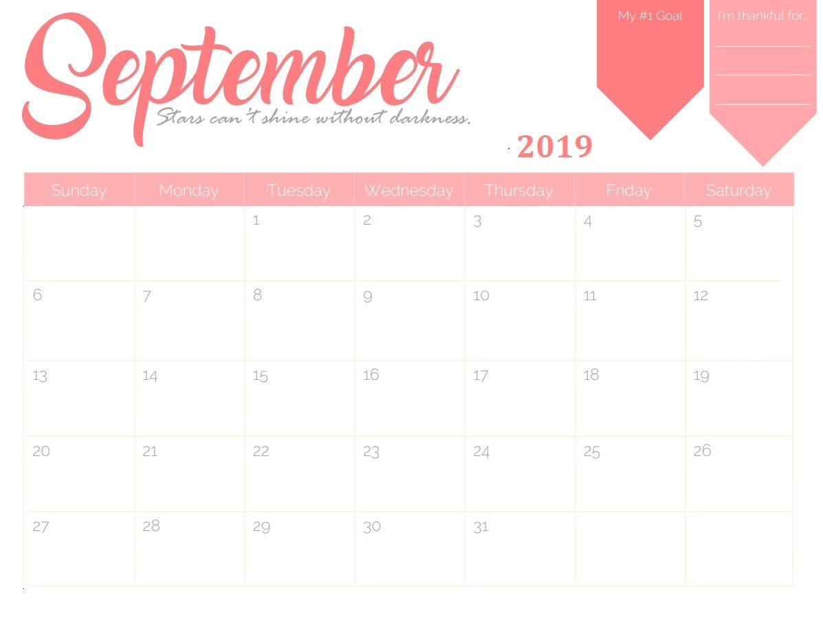 September 2019 Goal Planner Calendar | Calendar 2018 In 2019