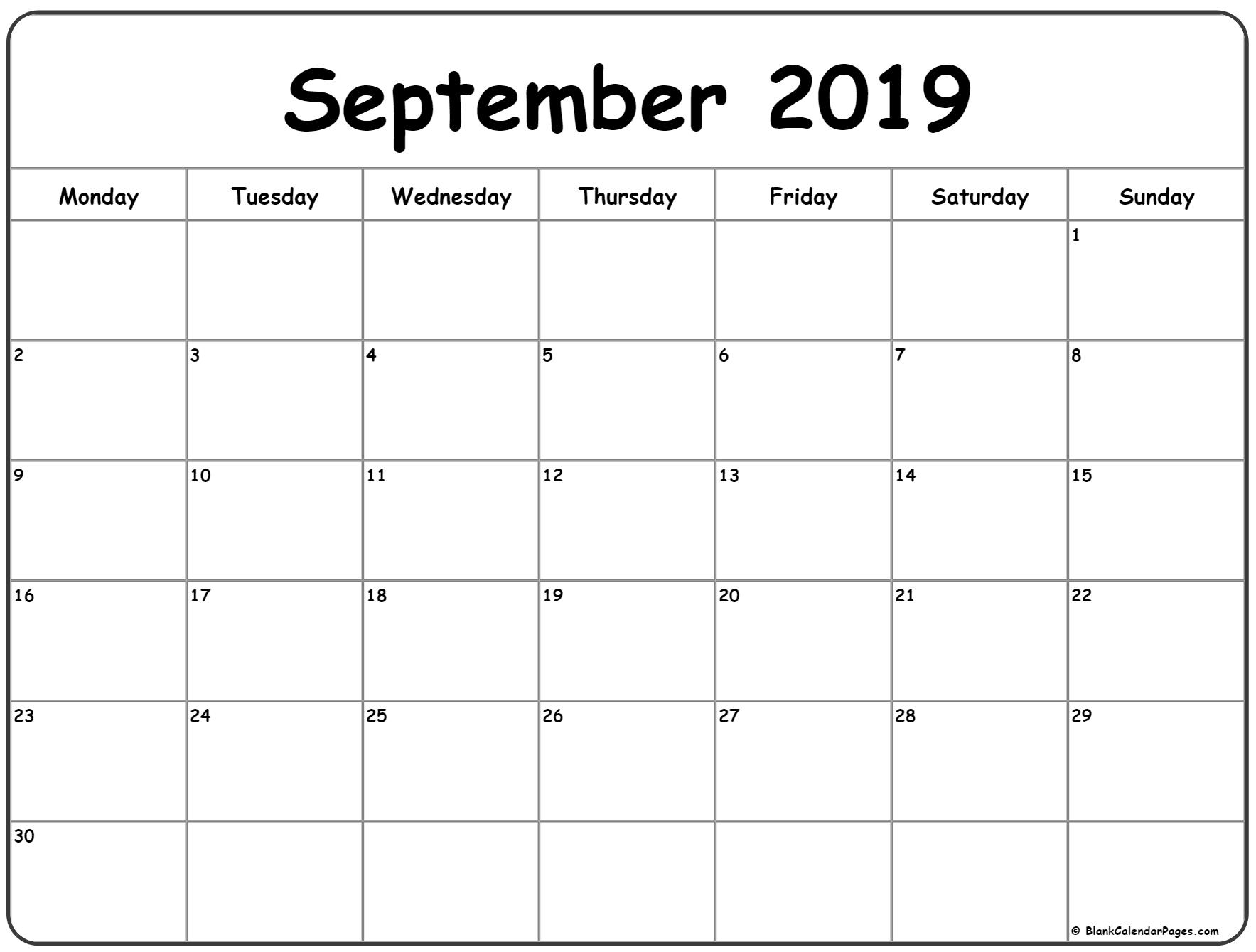 September 2019 Monday Calendar | Monday To Sunday