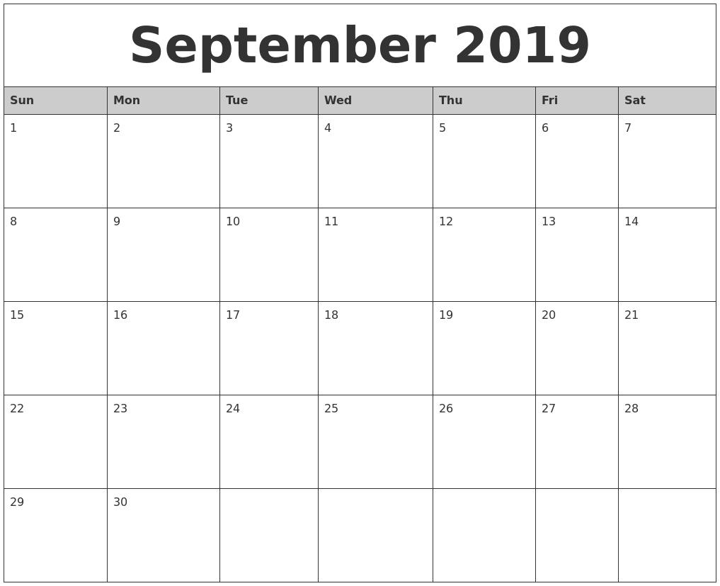 September 2019 Monthly Calendar Printable