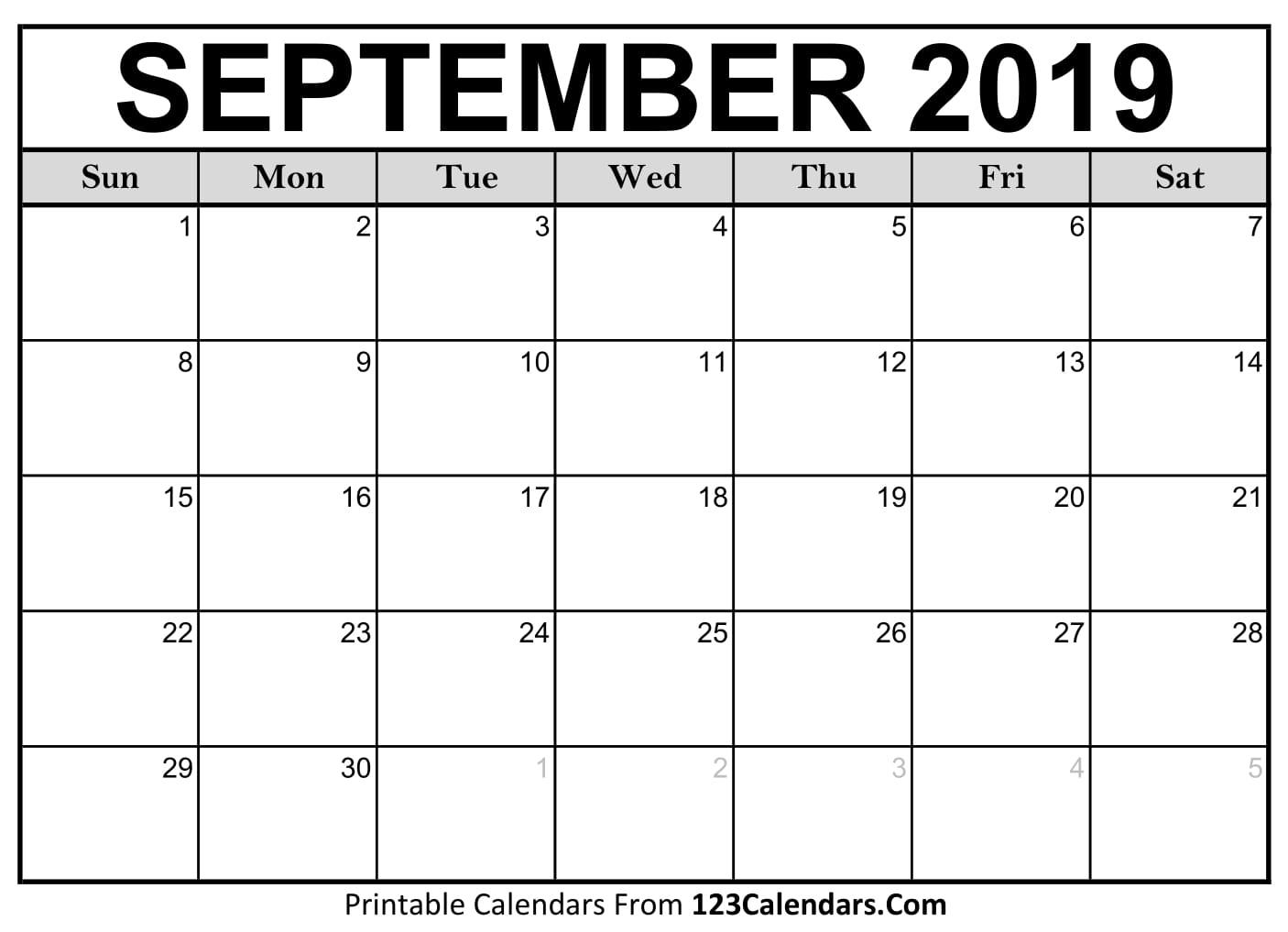 September 2019 Printable Calendar | 123Calendars