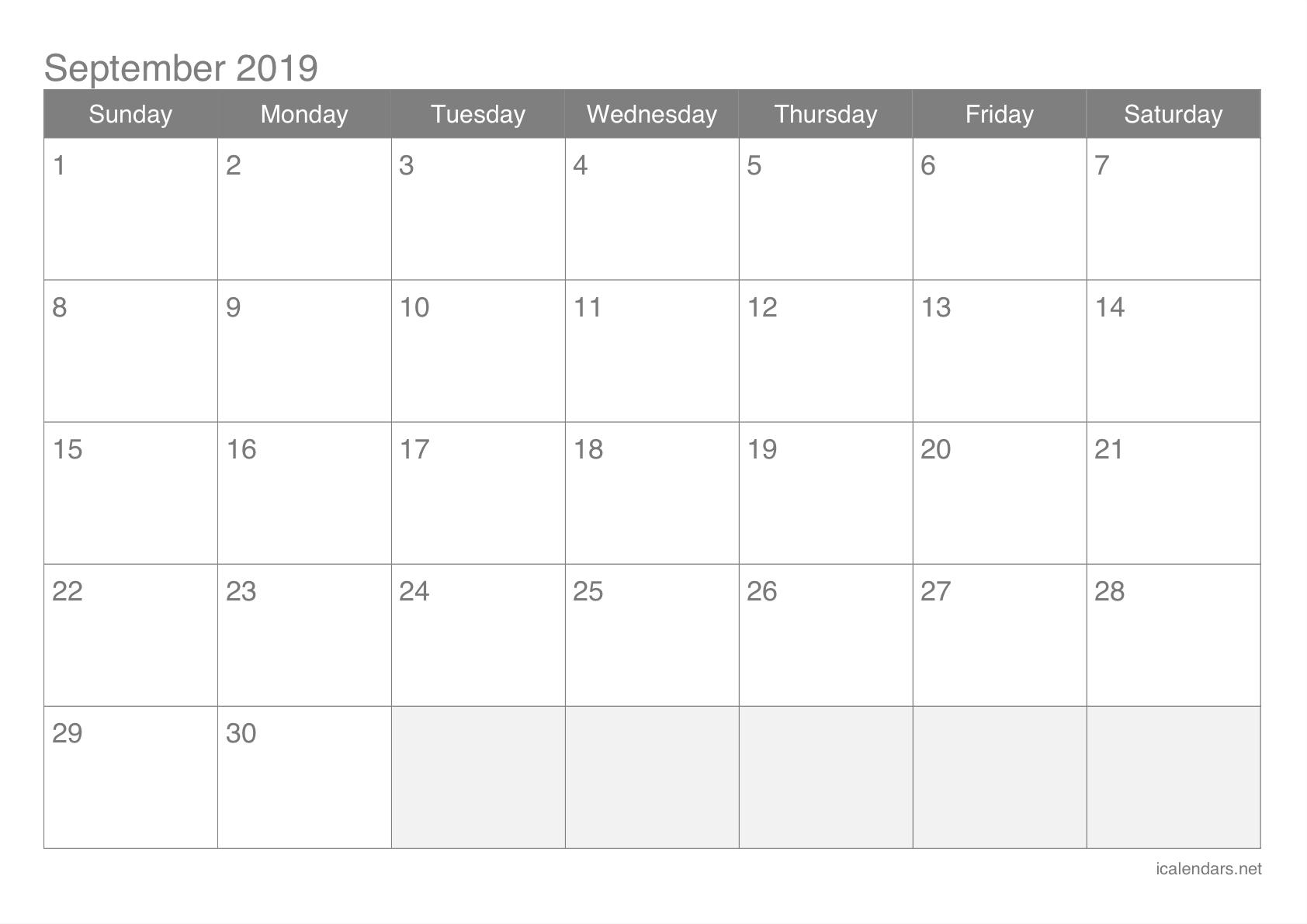 September 2019 Printable Calendar - Icalendars