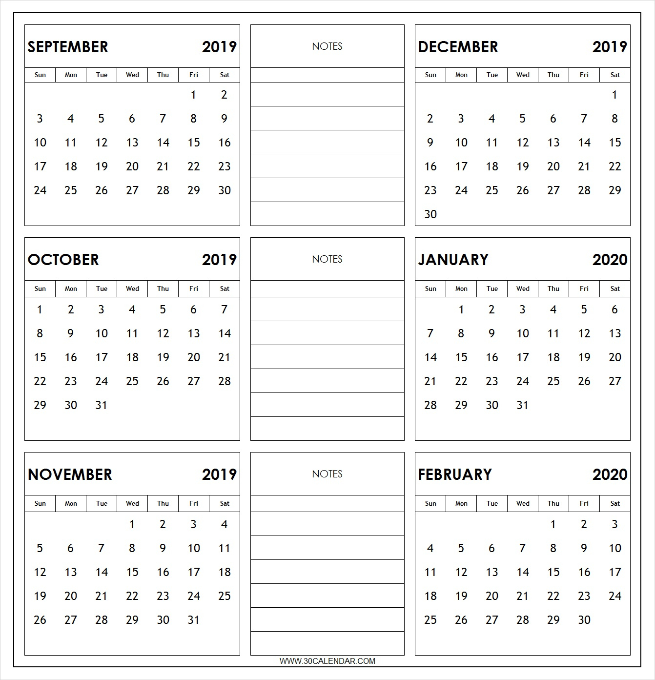 September 2019 To February 2020 Calendar Printable | 6 Month