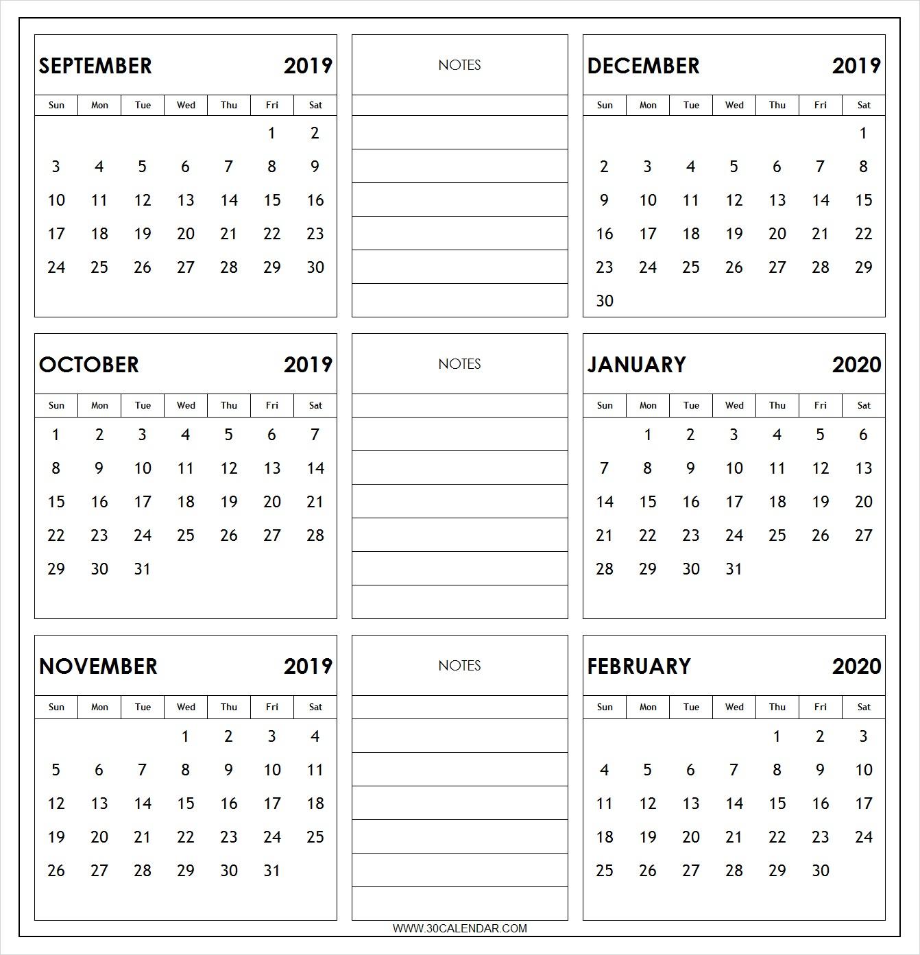 September 2019 To February 2020 Calendar Printable | 6 Month