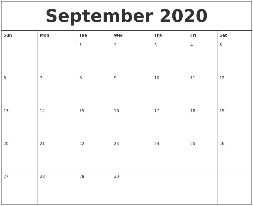 September 2020 Blank Calendar To Print