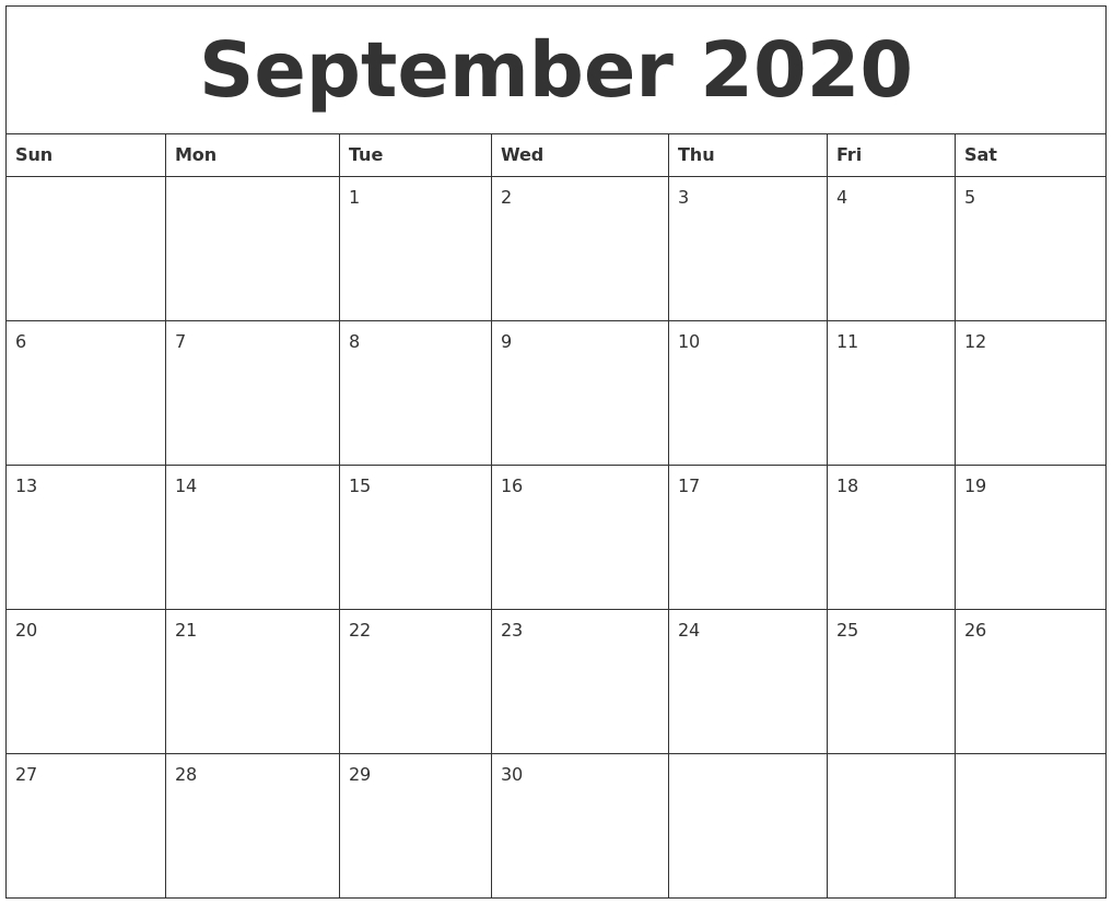 September 2020 Blank Monthly Calendar Template