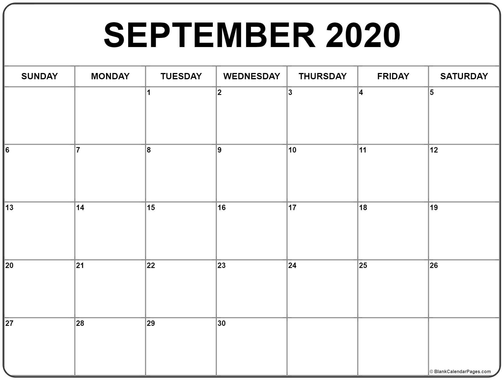September 2020 Calendar 51 Calendar Templates Of 2020