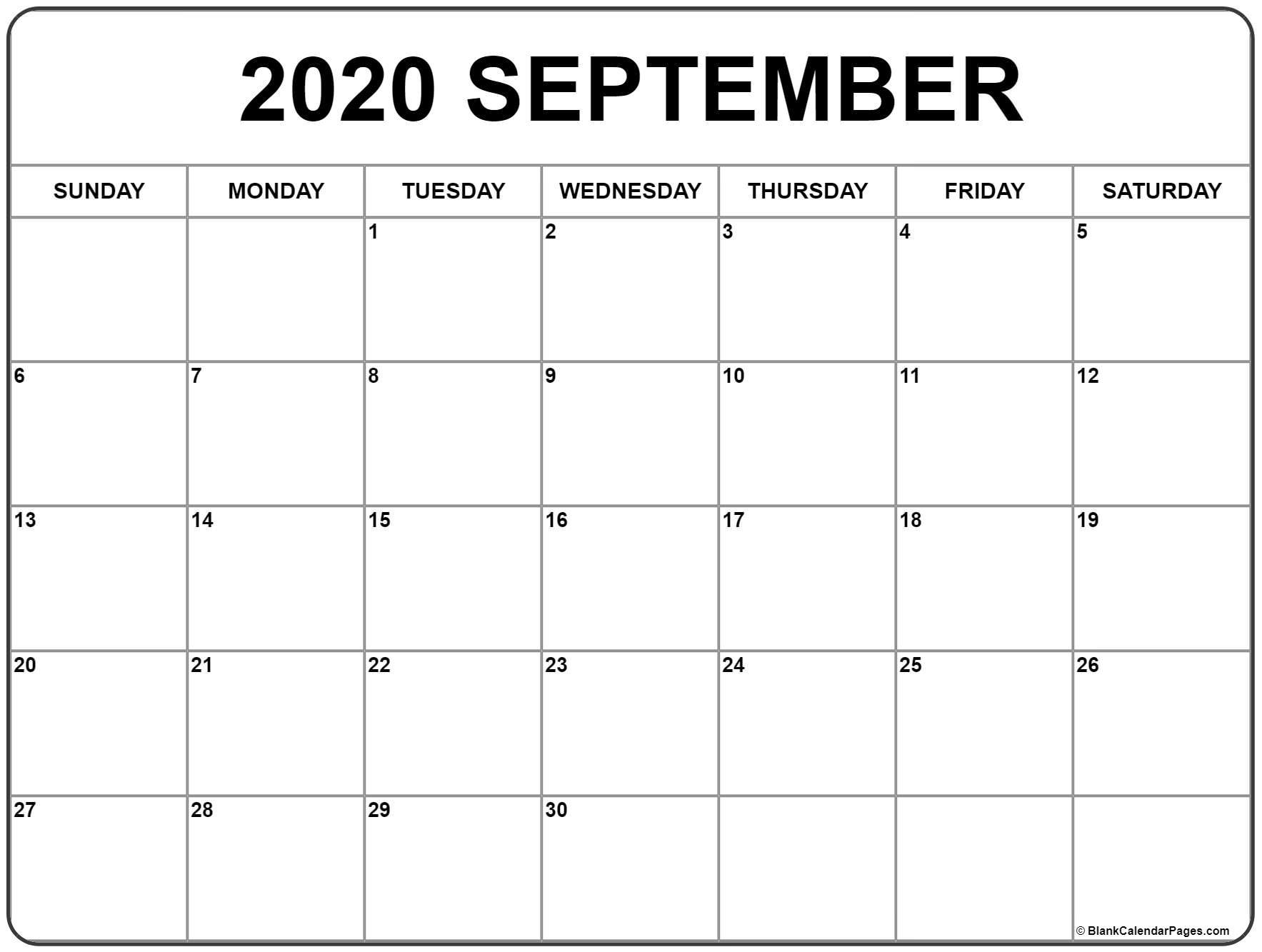 September 2020 Calendar | Free Printable Monthly Calendars