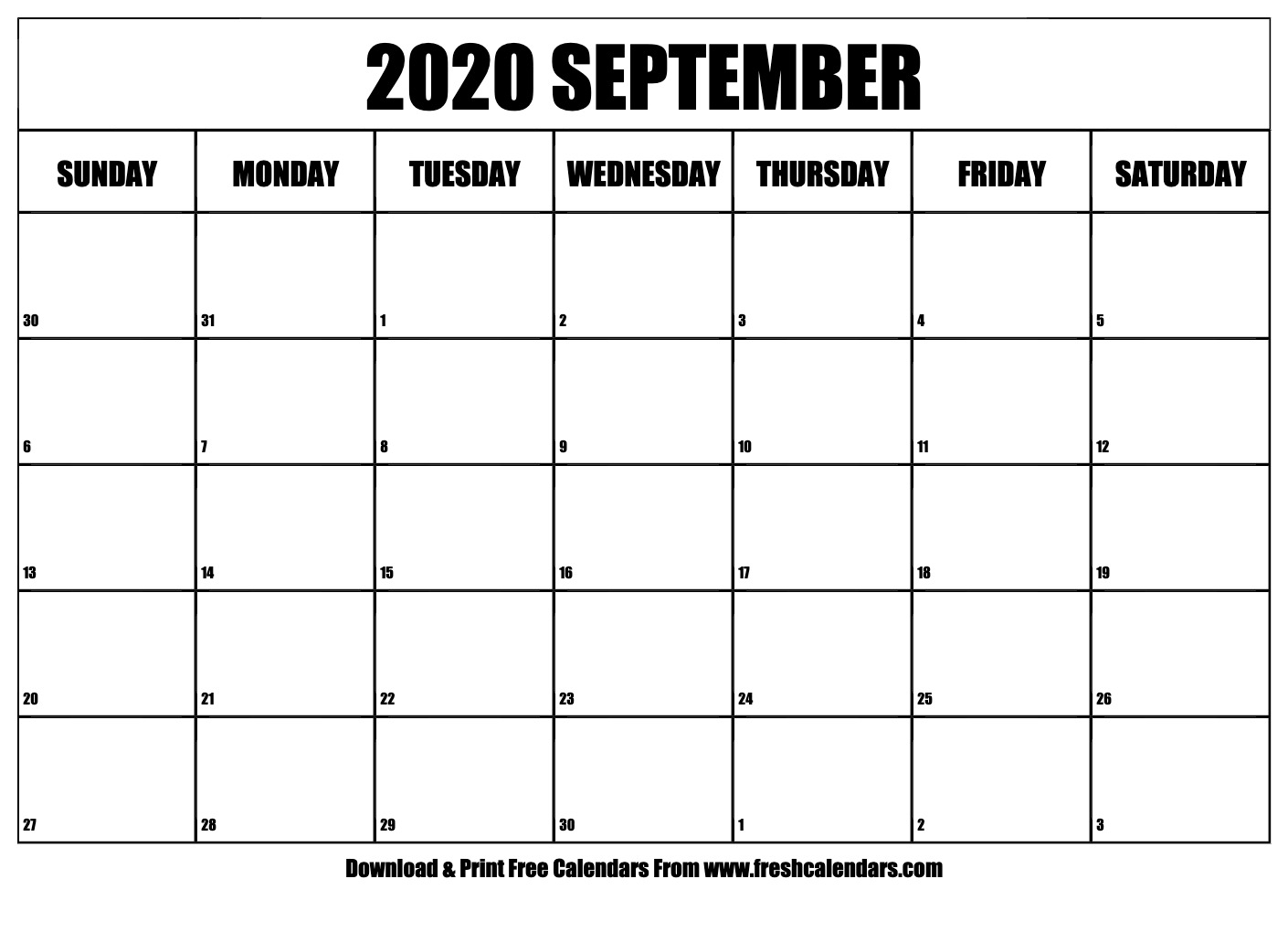 September 2020 Calendar Printable - Fresh Calendars