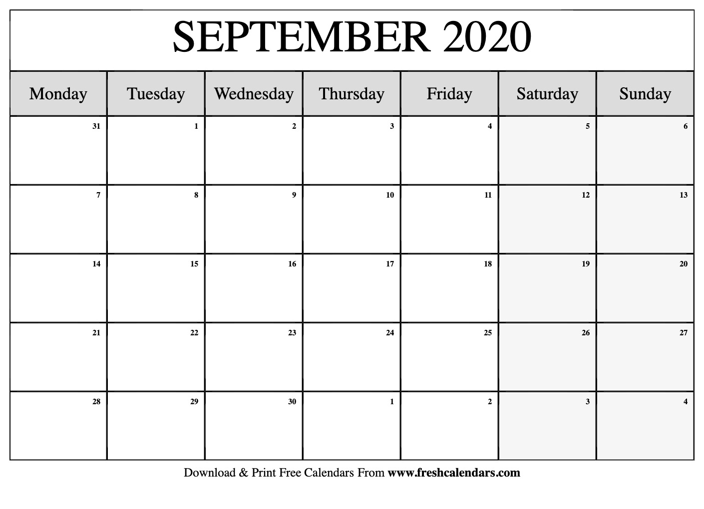 September 2020 Calendar Printable - Fresh Calendars
