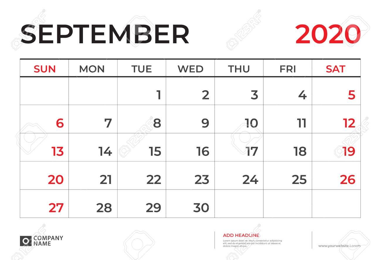 September 2020 Calendar Template, Desk Calendar Layout Size..