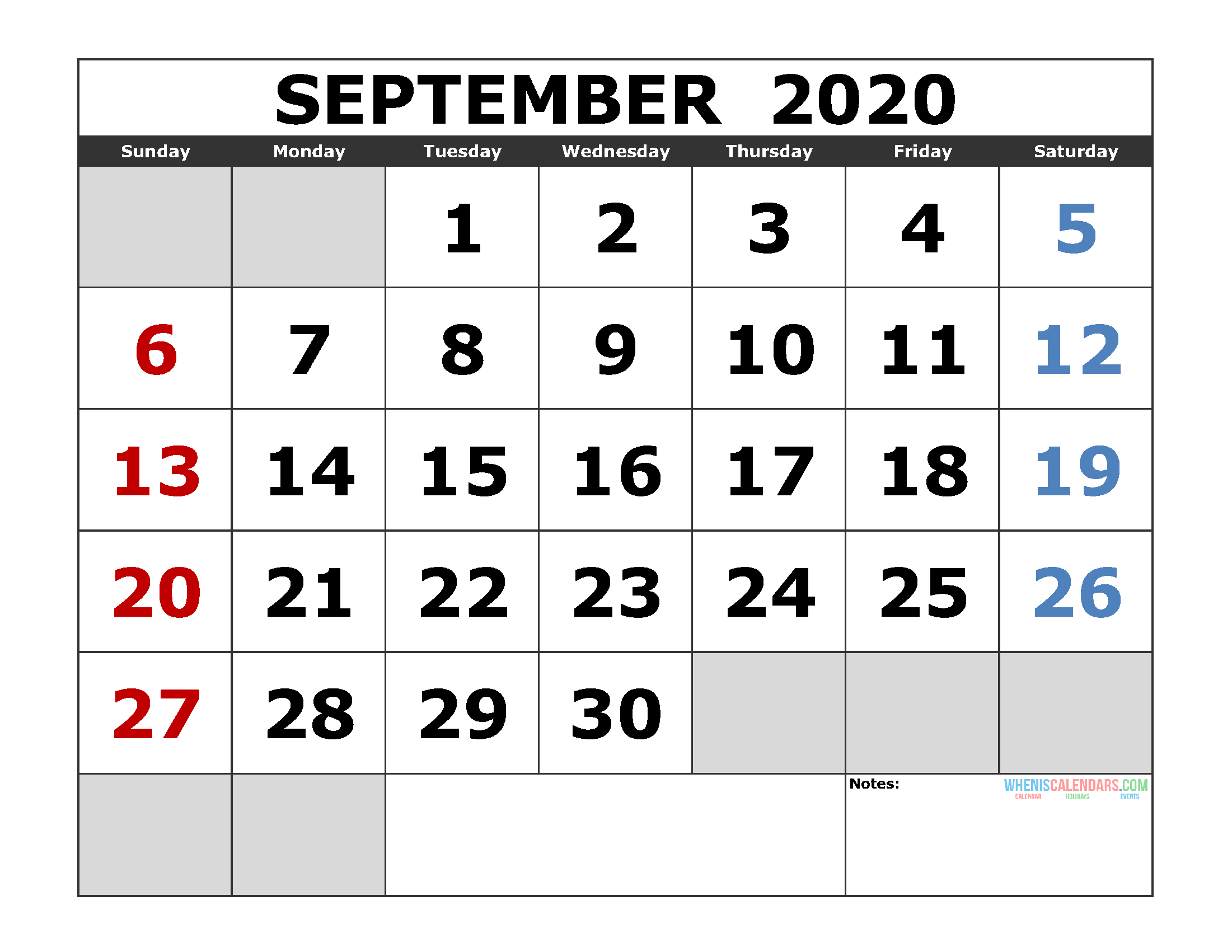 September 2020 Printable Calendar Template Excel, Pdf, Image