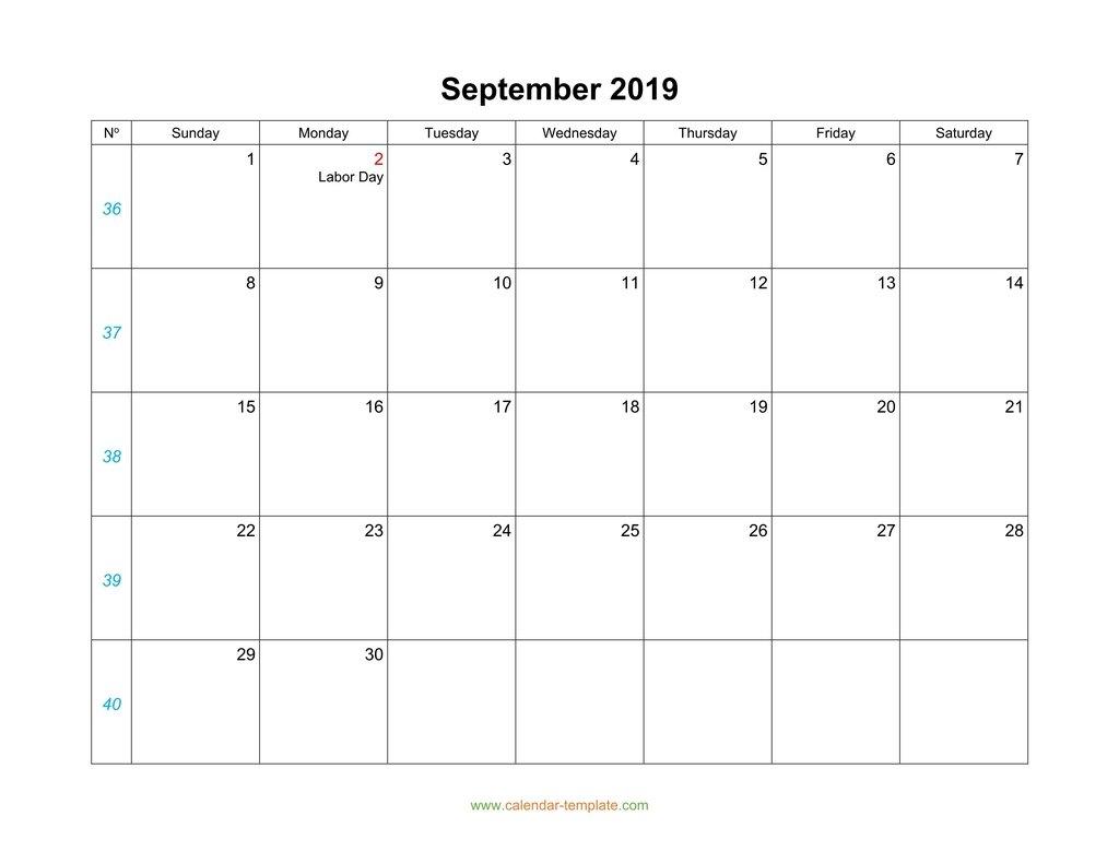 September Calendar 2019 Blank Template