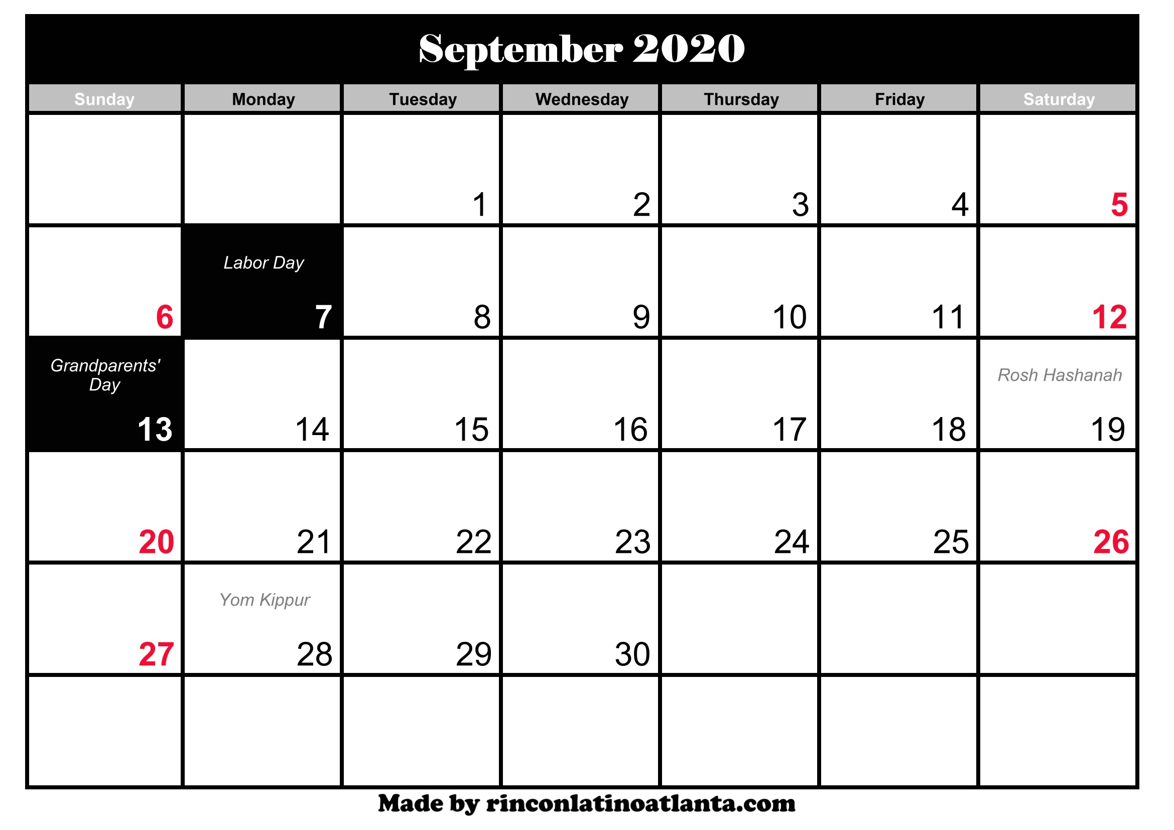 September Holidays 2020 | Anexa Vacation