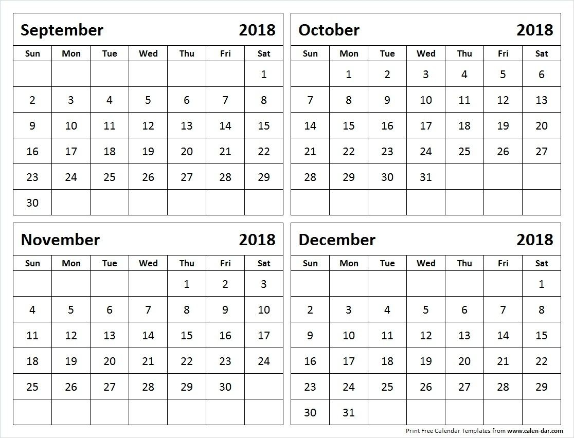 September Through December 2018 Calendar - Yeniscale.co