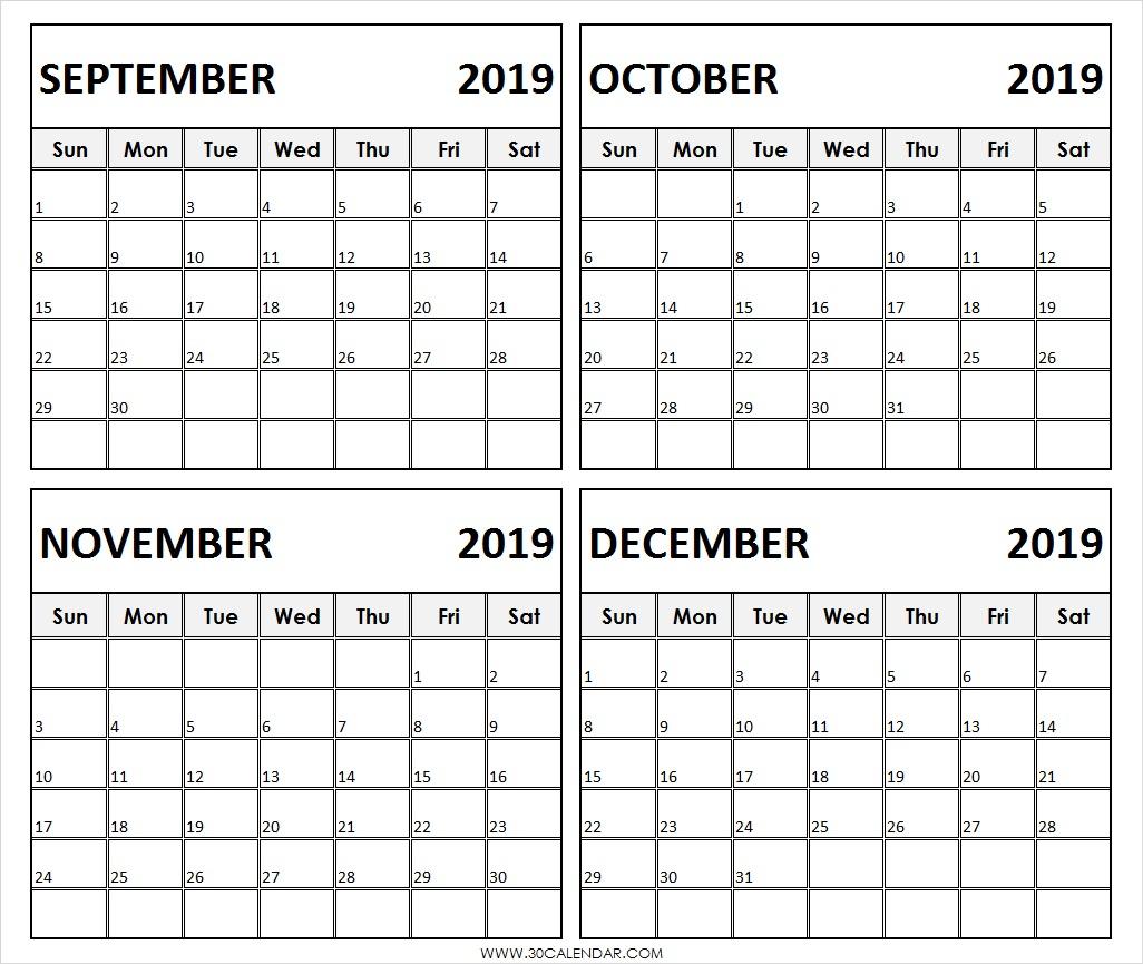 September To December 2019 Calendar | 4 Months Printable