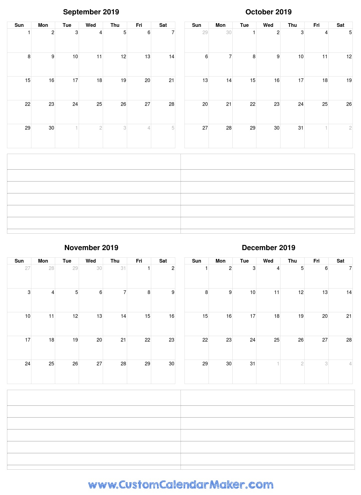 September To December 2019 Calendar Printable For Free