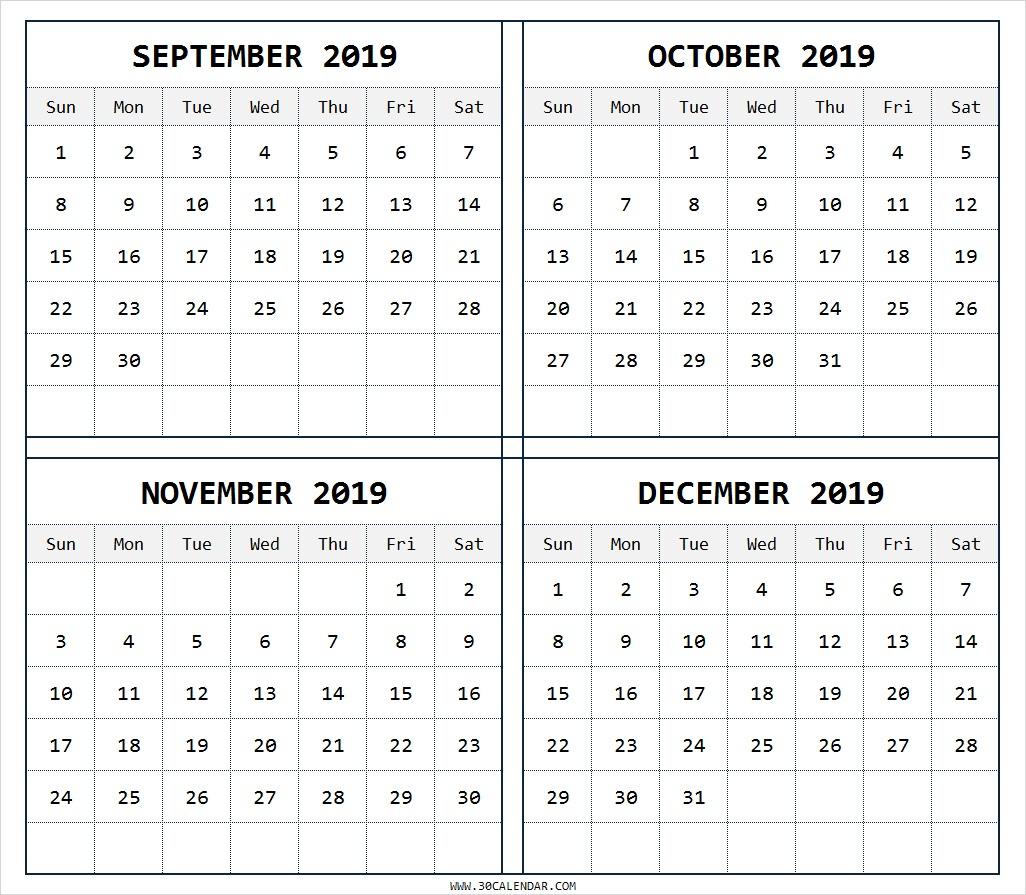 September-To-December-2019-Calendar-Printable-Free - 30 Day