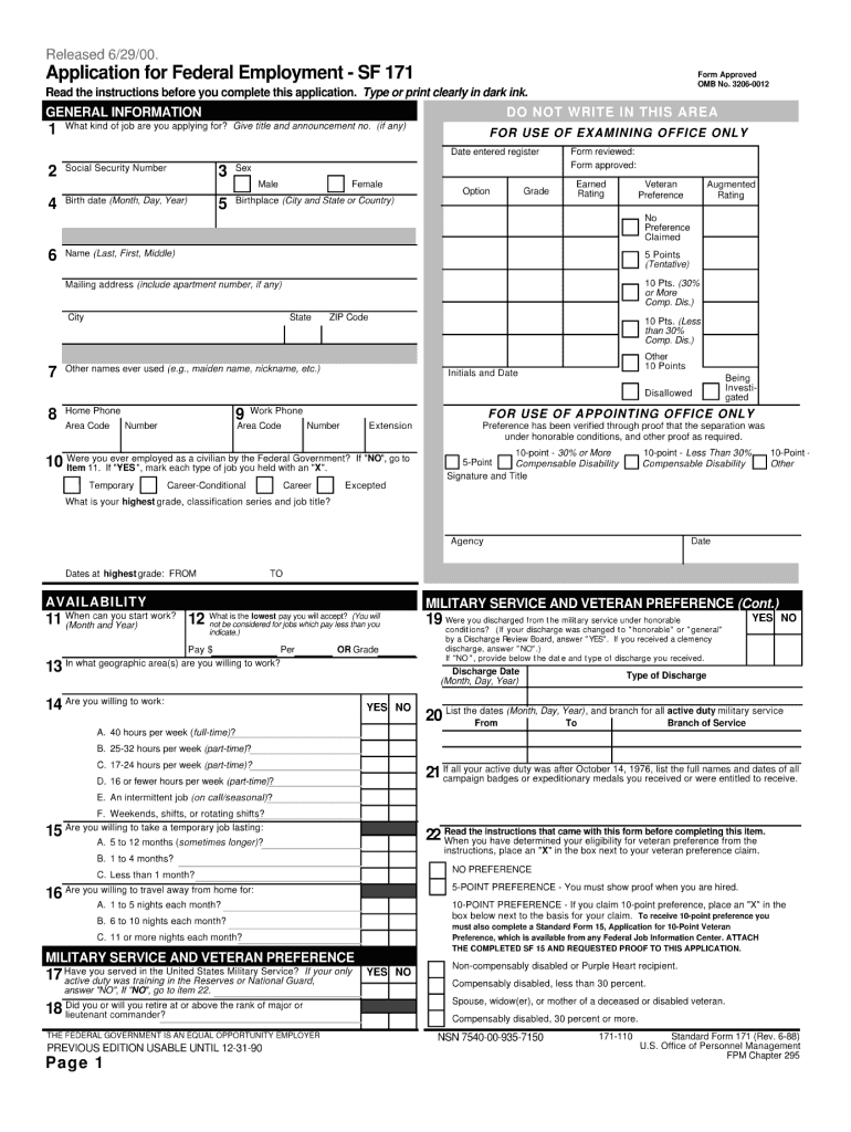 Sf 171 Form - Fill Online, Printable, Fillable, Blank