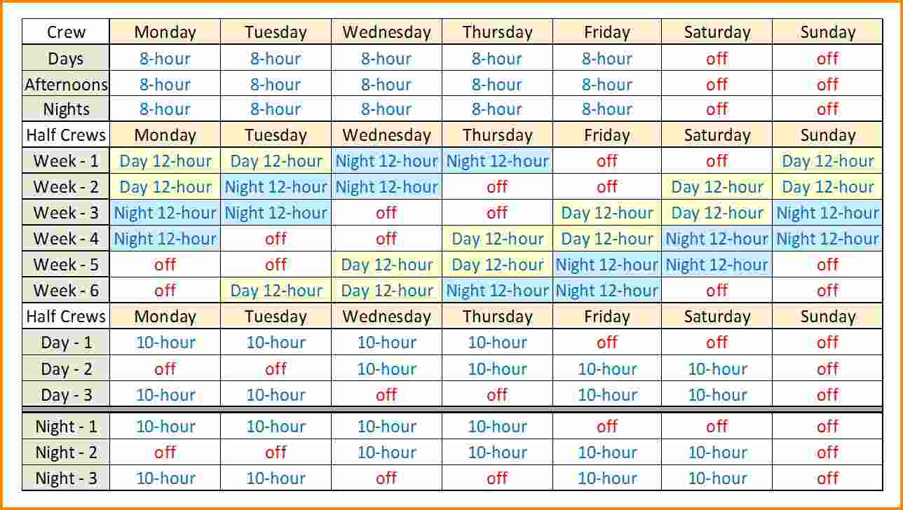Shift Schedule Template | Template Business