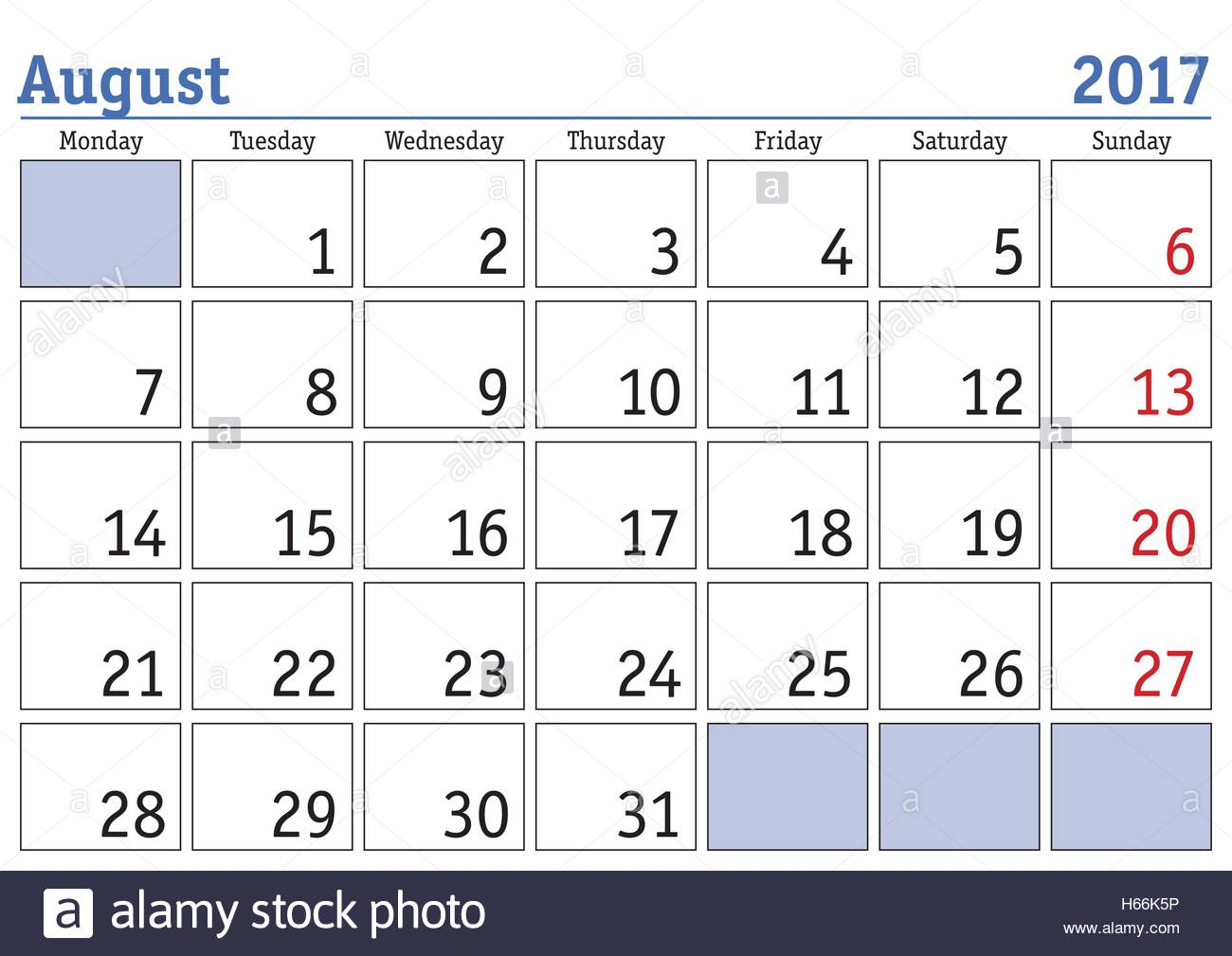 Simple Digital Calendar For August 2017. Vector Printable