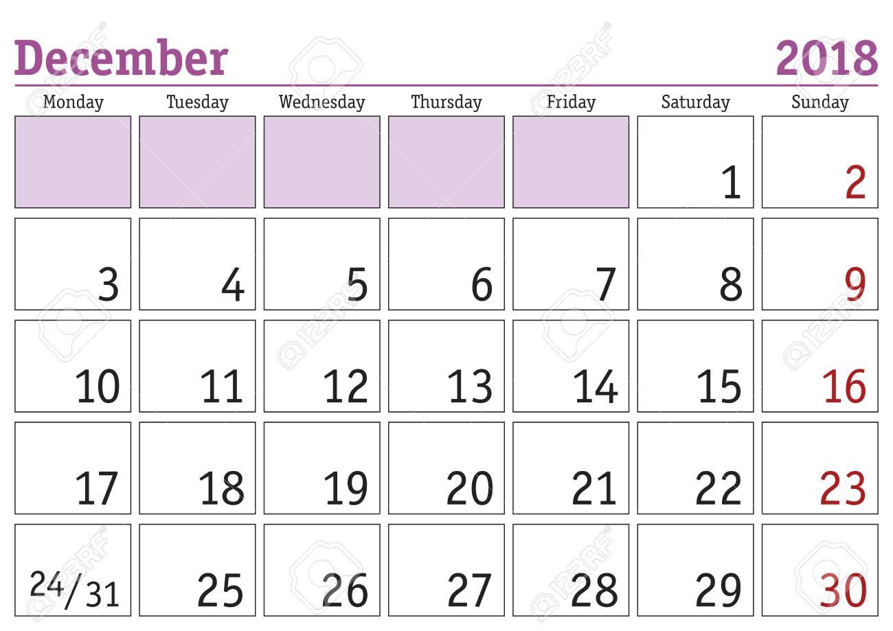 Simple Digital Calendar For December 2018. Vector Printable Calendar
