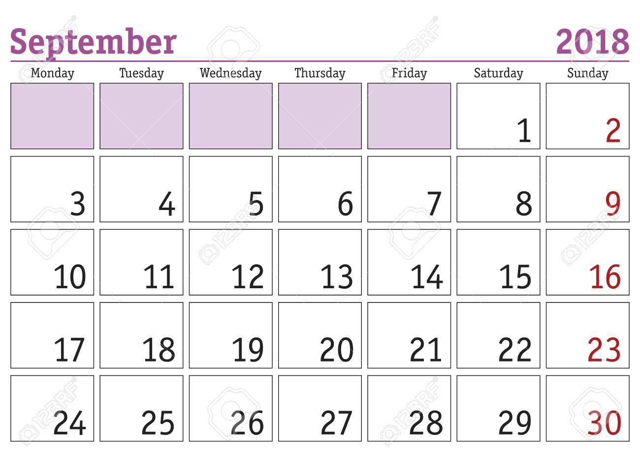 Simple Digital Calendar For September 2018. Vector Printable..