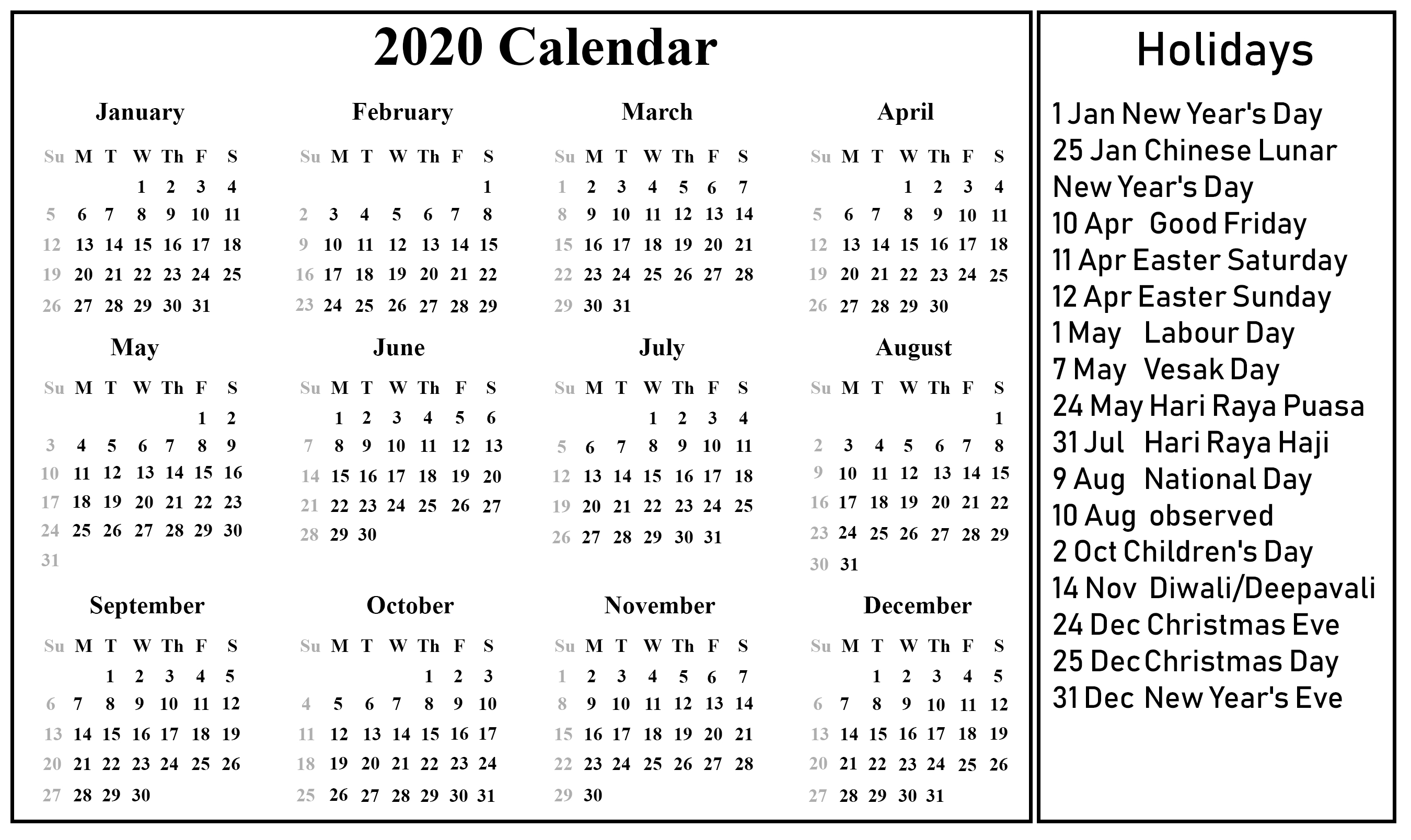 Singapore 2020 Printable Holidays Calendar | 2020 Calendars