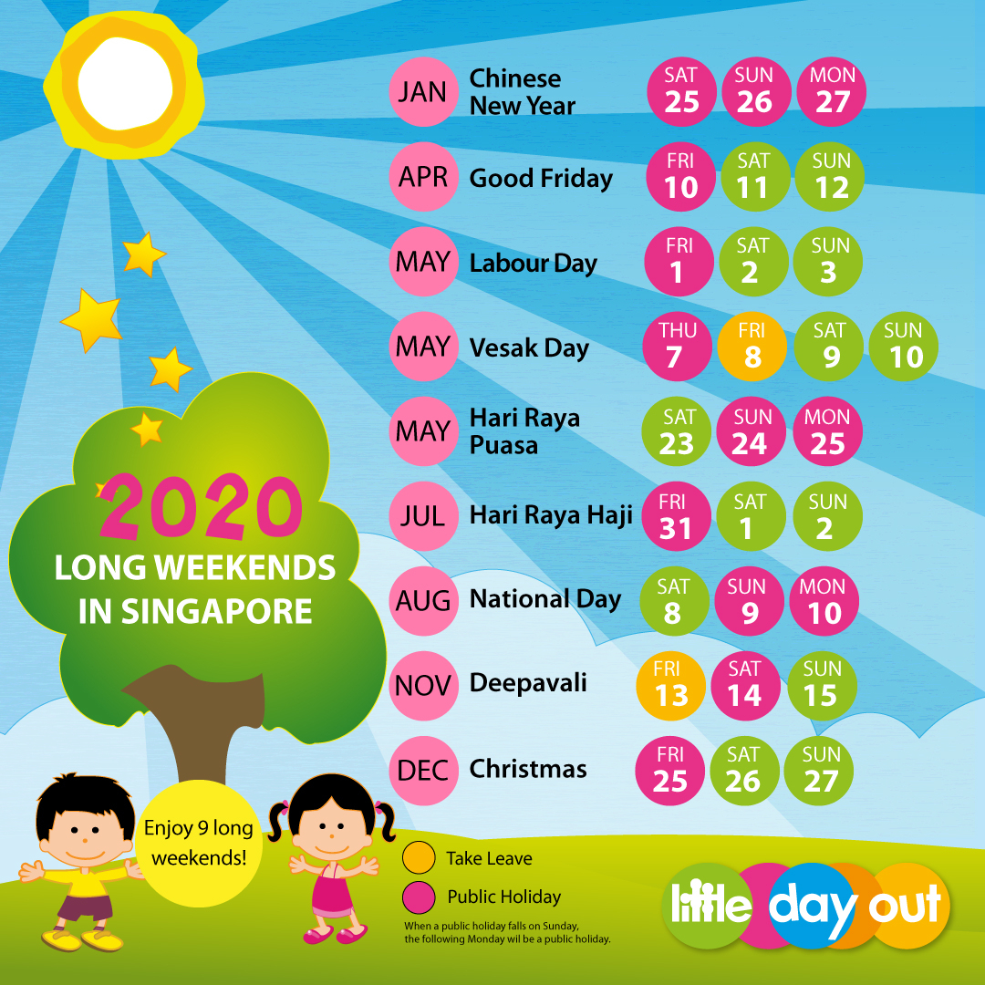 Singapore Public Holidays & School Holidays 2020 - Little