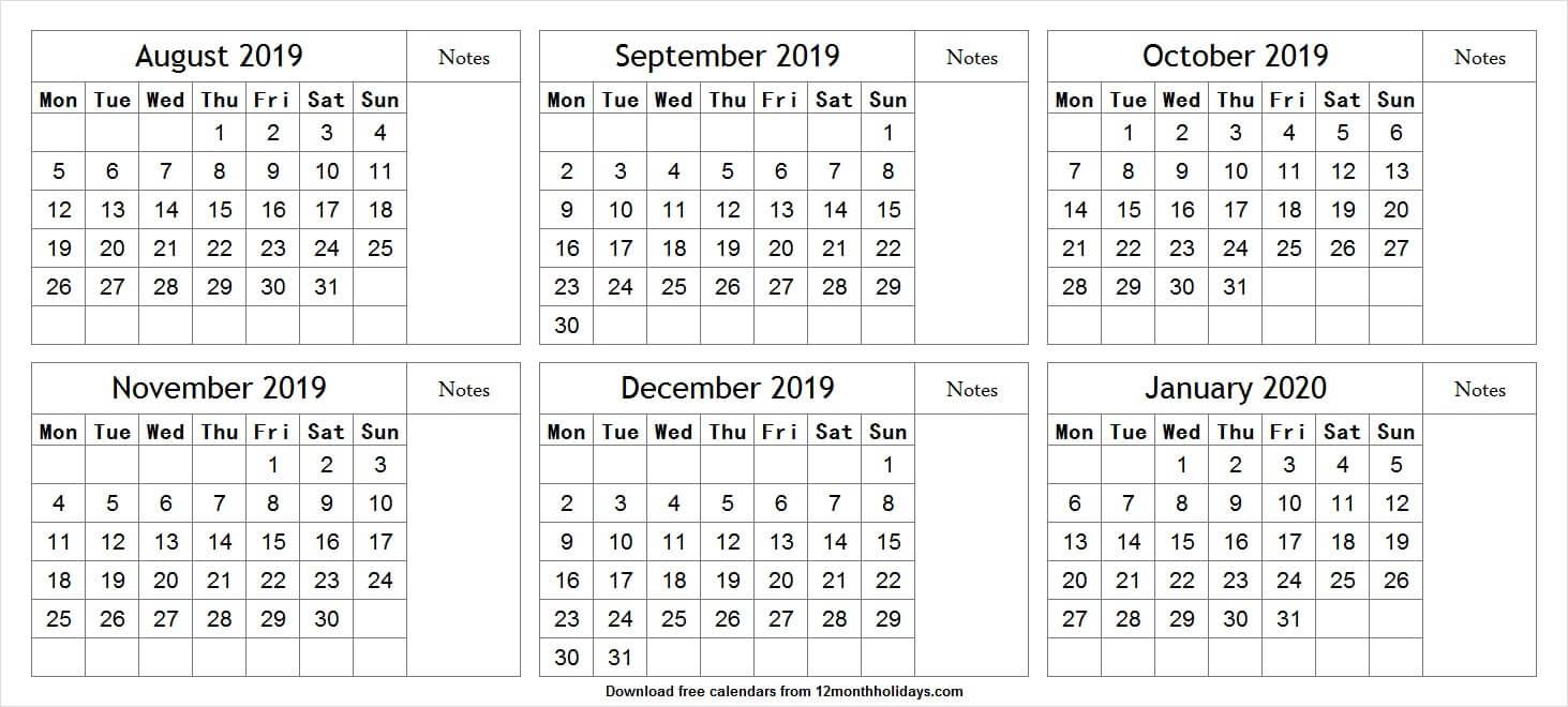 Six Month August 2019 January 2020 Calendar | Cute Calendar
