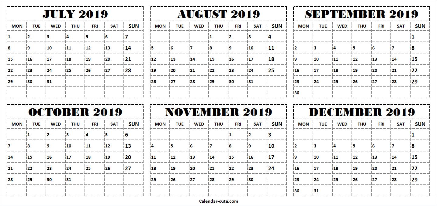 Six Month July December 2019 Calendar | 2019 Word