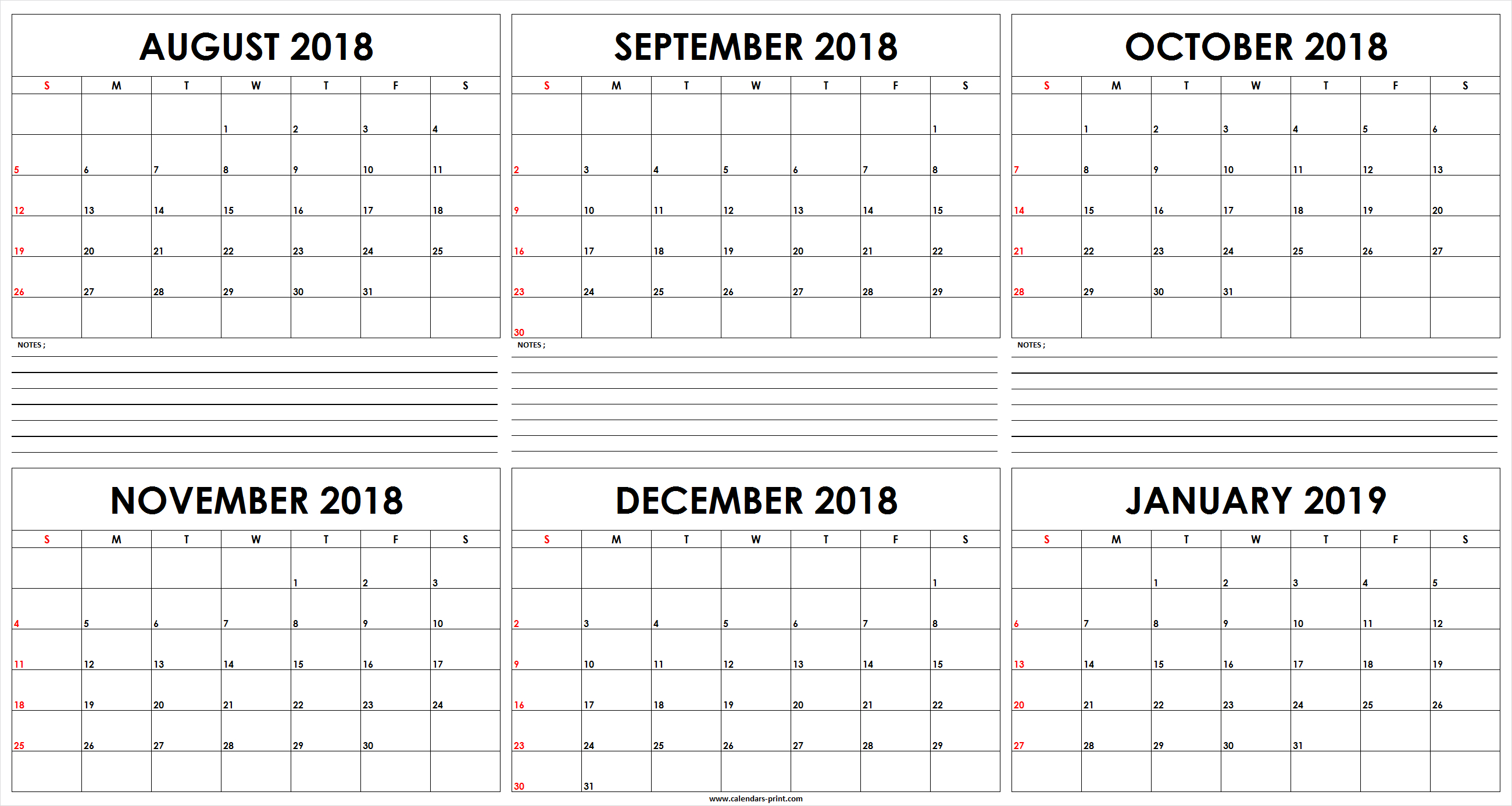 Six Monthly August 2018 To January 2019 Calendar Template