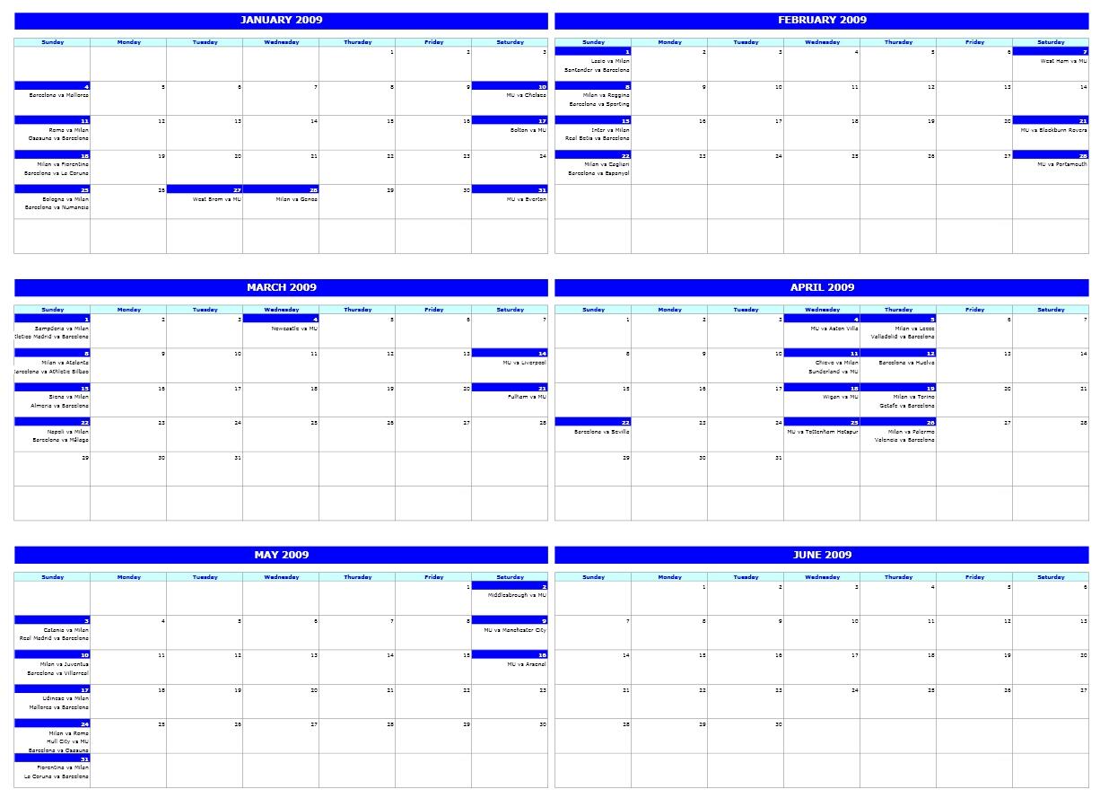 Six-Monthly Calendar