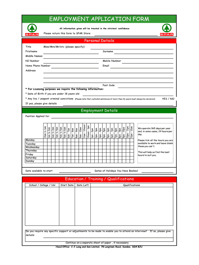 Spar Application Form Pdf - Fill Online, Printable, Fillable