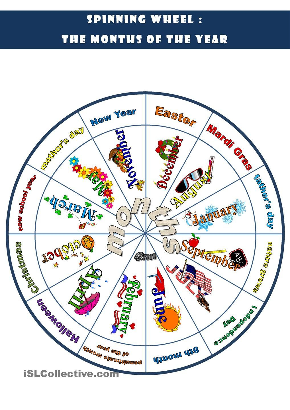 Spinning Wheel: The Months Of The Year | Charts | Months In