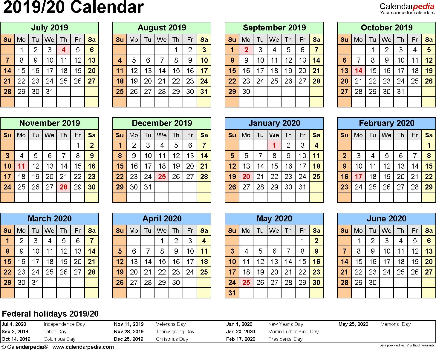 Split Year Calendar 2019/20 (July To June) - Excel Templates