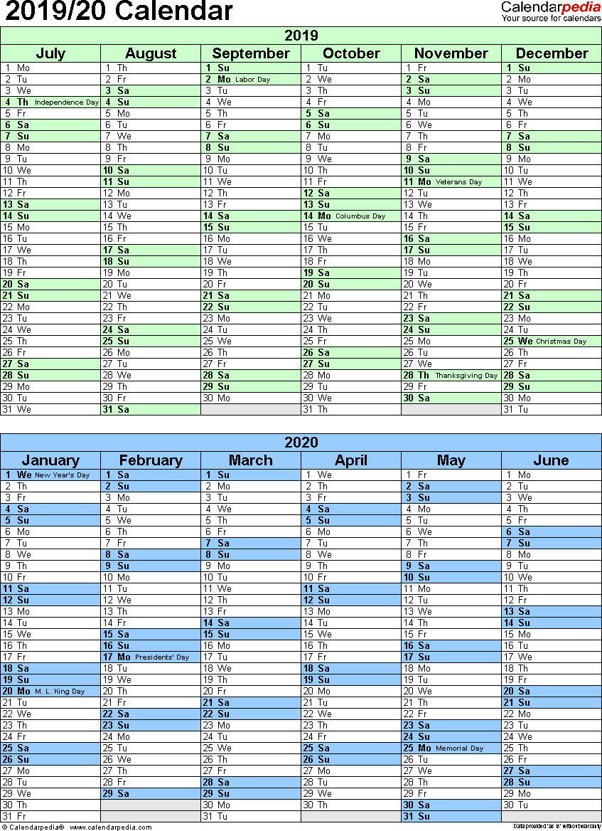 Split Year Calendar 2019/20 (July To June) - Excel Templates
