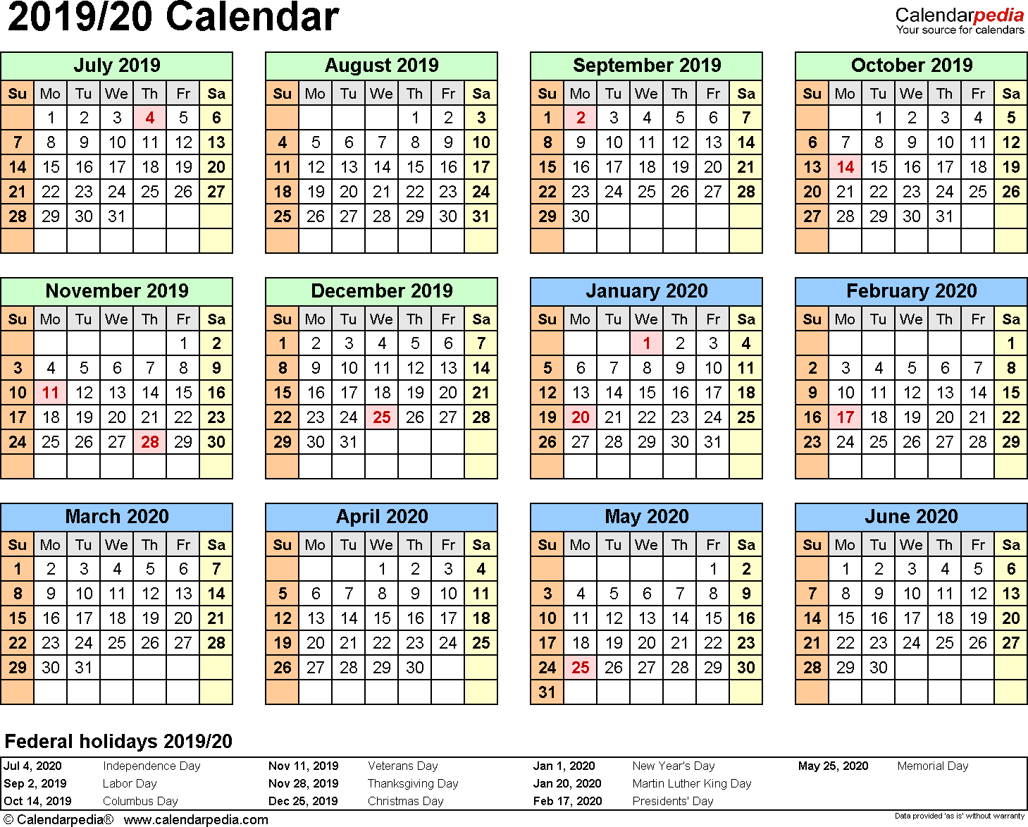 Split Year Calendar 2019/20 (July To June) - Pdf Templates