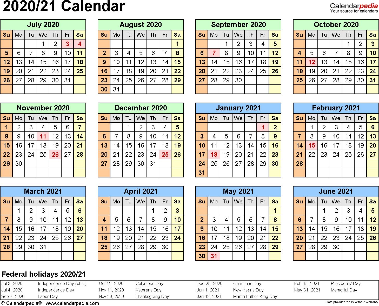 Split Year Calendar 2020/21 (July To June) - Word Templates