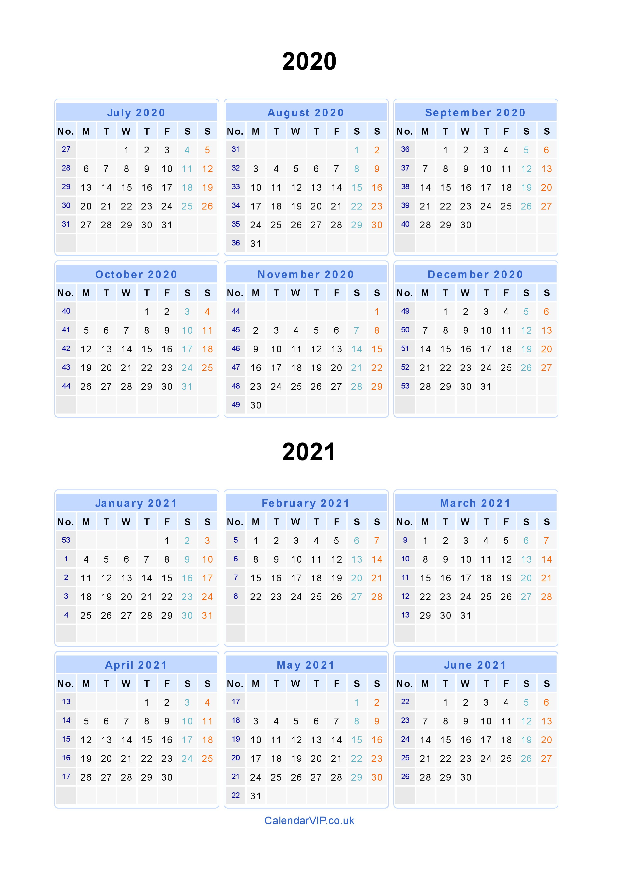 Split Year Calendars 2020 2021 - Calendar From July 2020 To