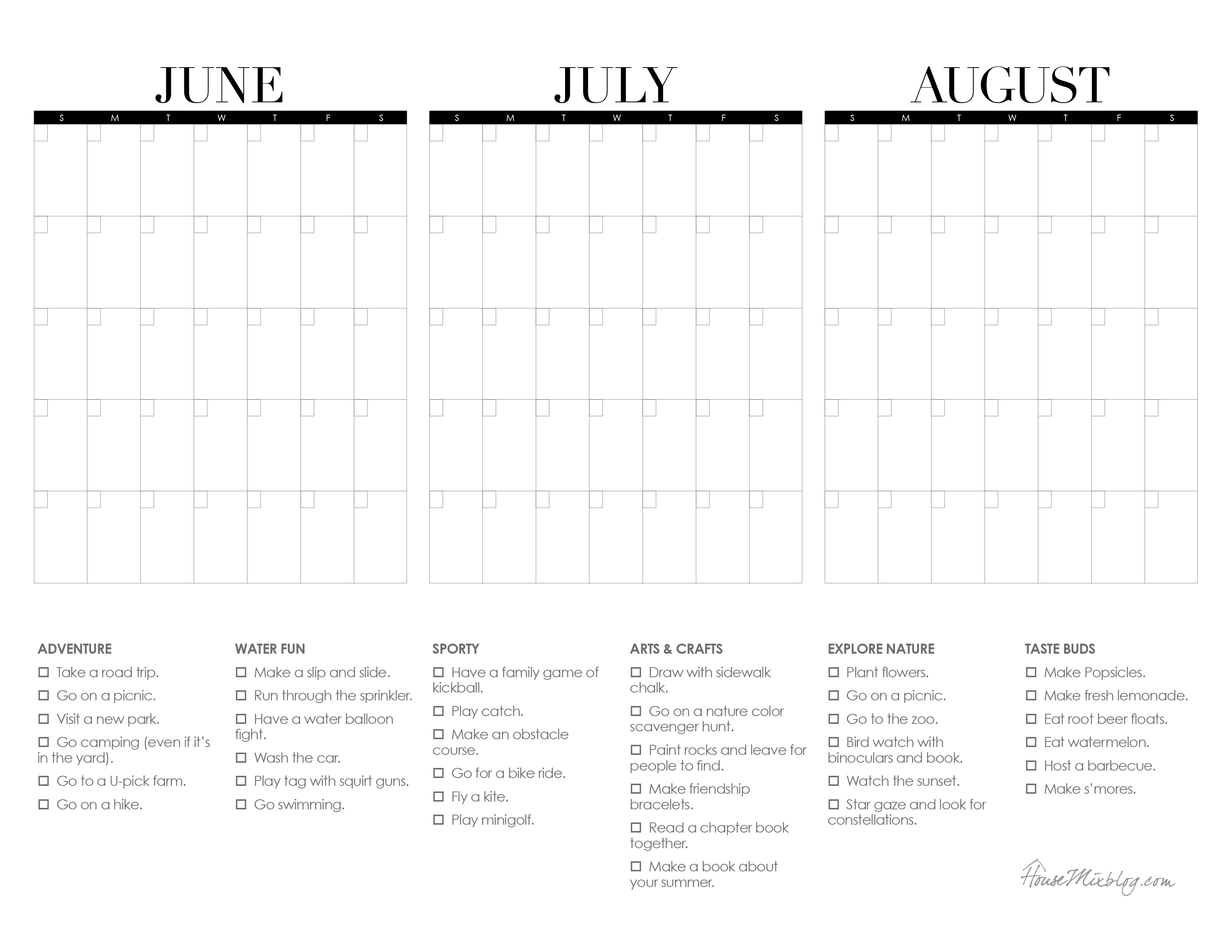 Summer Calendar Printable With Bucketlist   House Mix