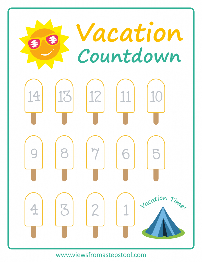 Summer Vacation Countdown Printables | Views From A Step