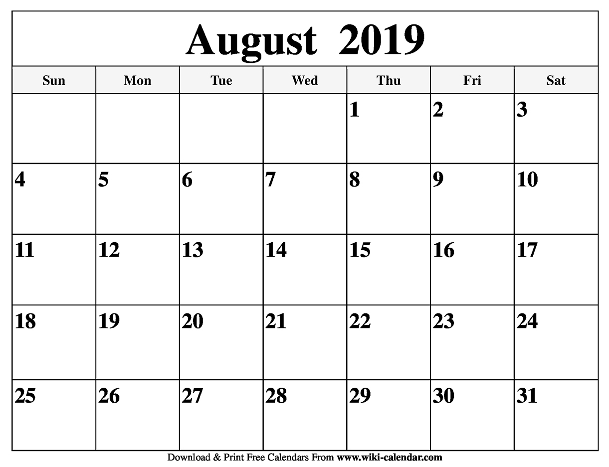 Take Calendar Print Out August 2019 ⋆ The Best Printable