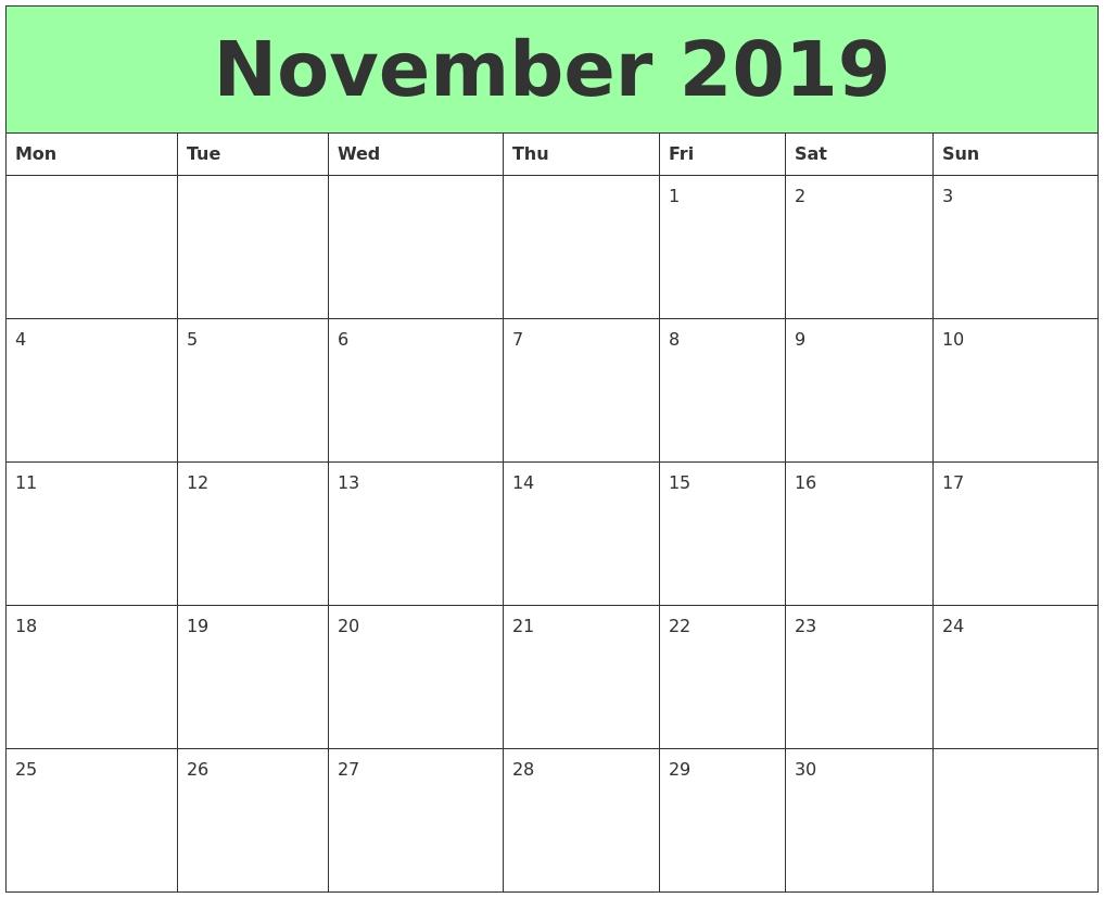 Take Calender 2019 November Starting Monday ⋆ The Best