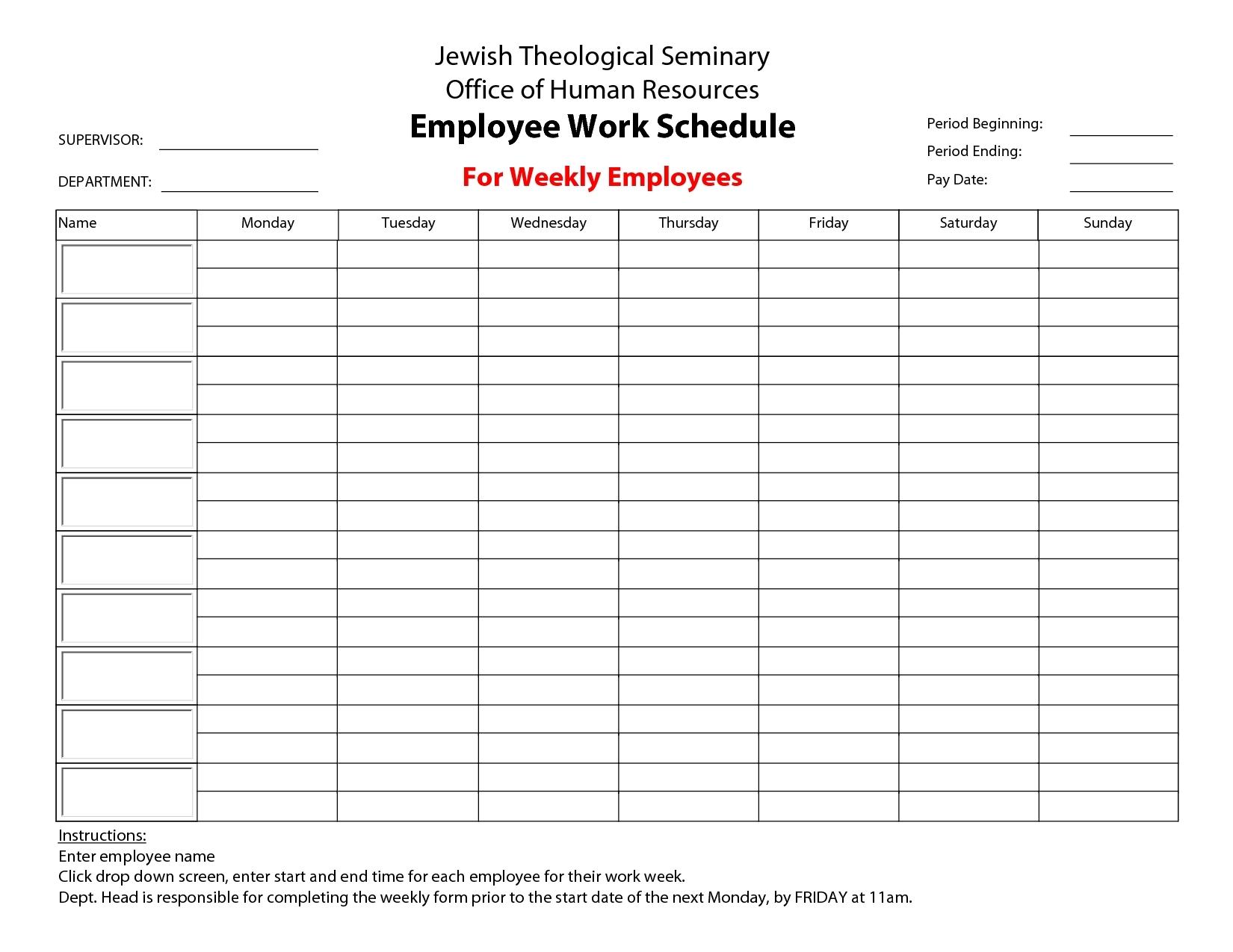 Take Printable Blank Bi-Weekly Employee Schedule ⋆ The Best