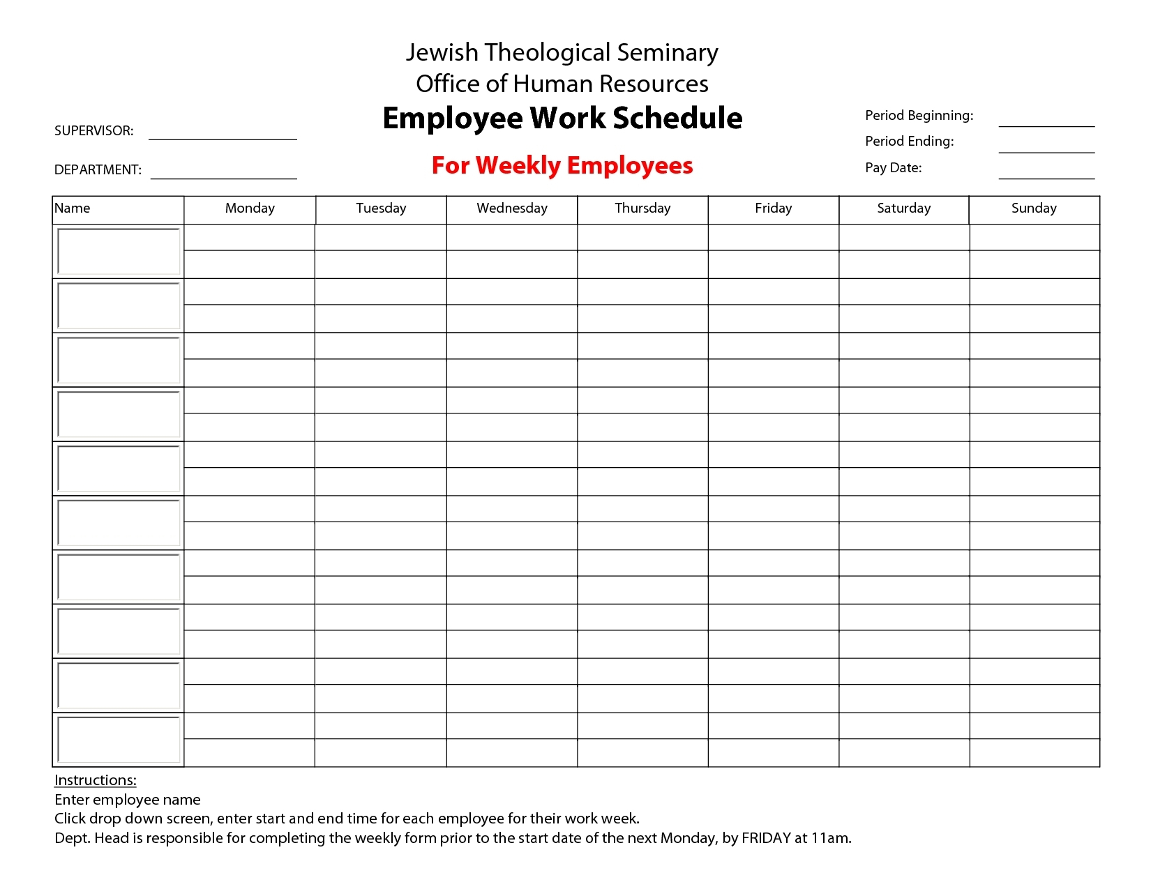 Take Printable Blank Bi-Weekly Employee Schedule ⋆ The Best
