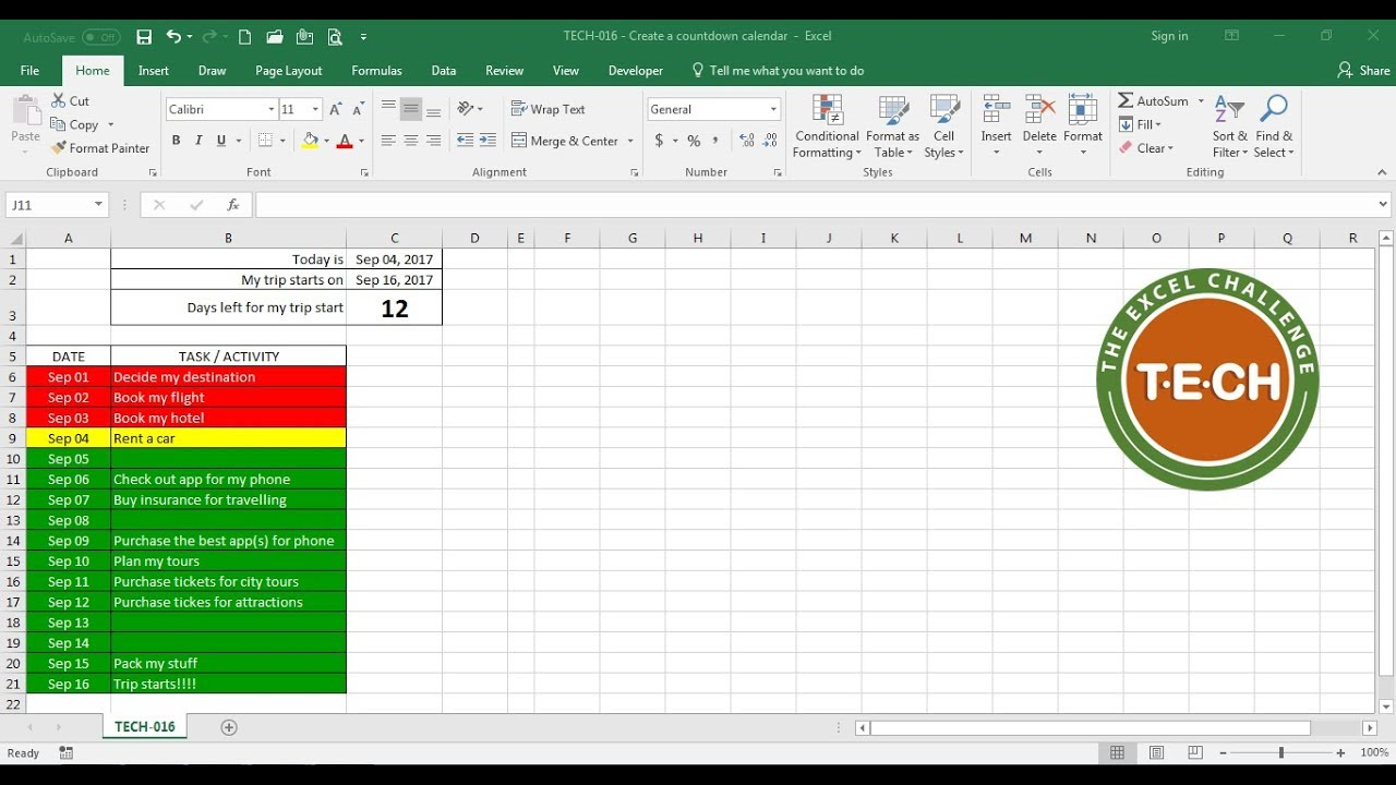 Tech-016 - Create A Countdown Calendar And Combine It With Conditional  Formatting For Each Task